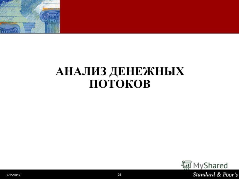 25 9/15/2012 АНАЛИЗ ДЕНЕЖНЫХ ПОТОКОВ