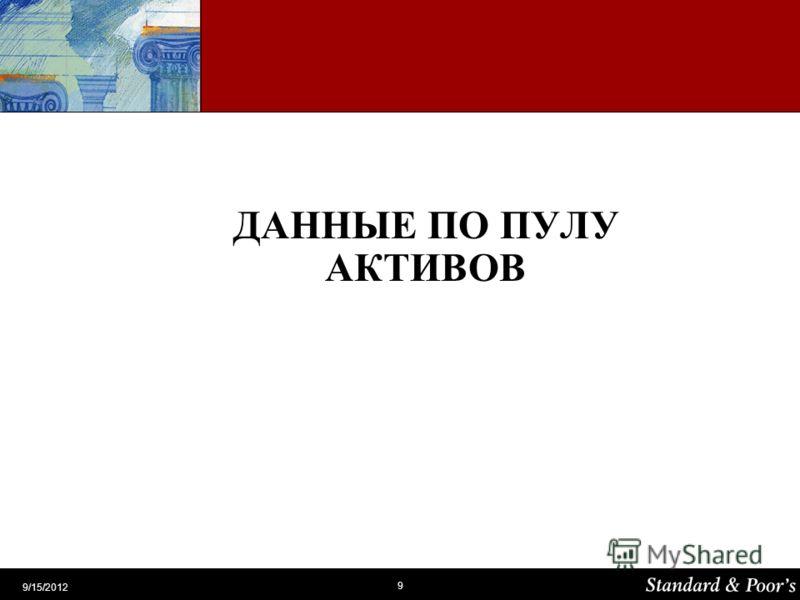 9 9/15/2012 ДАННЫЕ ПО ПУЛУ АКТИВОВ