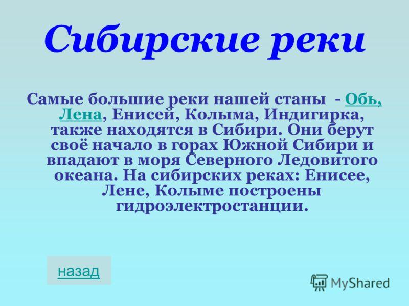 Сибирские реки Самые большие реки нашей станы - Обь, Лена, Енисей, Колыма, Индигирка, также находятся в Сибири. Они берут своё начало в горах Южной Сибири и впадают в моря Северного Ледовитого океана. На сибирских реках: Енисее, Лене, Колыме построен