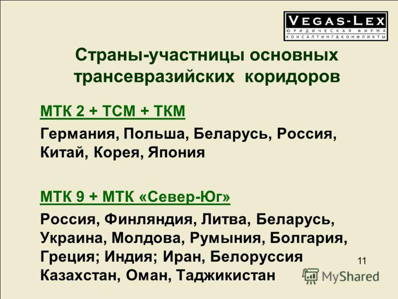 11 Страны-участницы основных трансевразийских коридоров МТК 2 + ТСМ + ТКМ Германия, Польша, Беларусь, Россия, Китай, Корея, Япония МТК 9 + МТК «Север-Юг» Россия, Финляндия, Литва, Беларусь, Украина, Молдова, Румыния, Болгария, Греция; Индия; Иран, Бе