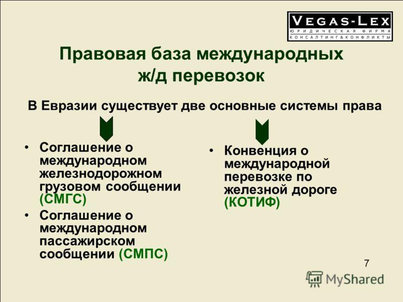 7 7 Правовая база международных ж/д перевозок Соглашение о международном железнодорожном грузовом сообщении (СМГС) Соглашение о международном пассажирском сообщении (СМПС) Конвенция о международной перевозке по железной дороге (КОТИФ) В Евразии сущес