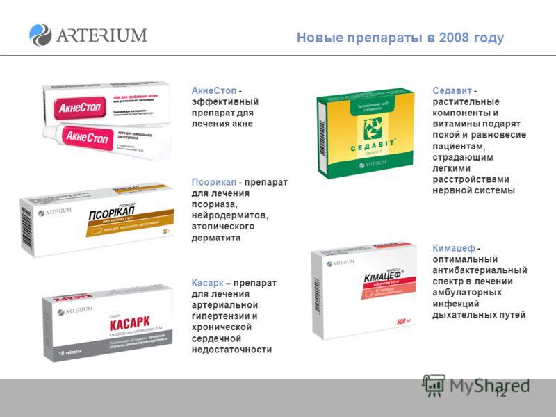 12 Новые препараты в 2008 году Кимацеф - оптимальный антибактериальный спектр в лечении амбулаторных инфекций дыхательных путей Псорикап - препарат для лечения псориаза, нейродермитов, атопического дерматита АкнеСтоп - эффективный препарат для лечени