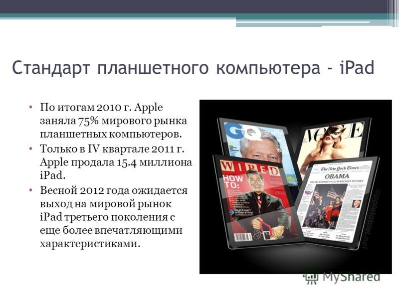 Стандарт планшетного компьютера - iPad По итогам 2010 г. Apple заняла 75% мирового рынка планшетных компьютеров. Только в IV квартале 2011 г. Apple продала 15.4 миллиона iPad. Весной 2012 года ожидается выход на мировой рынок iPad третьего поколения