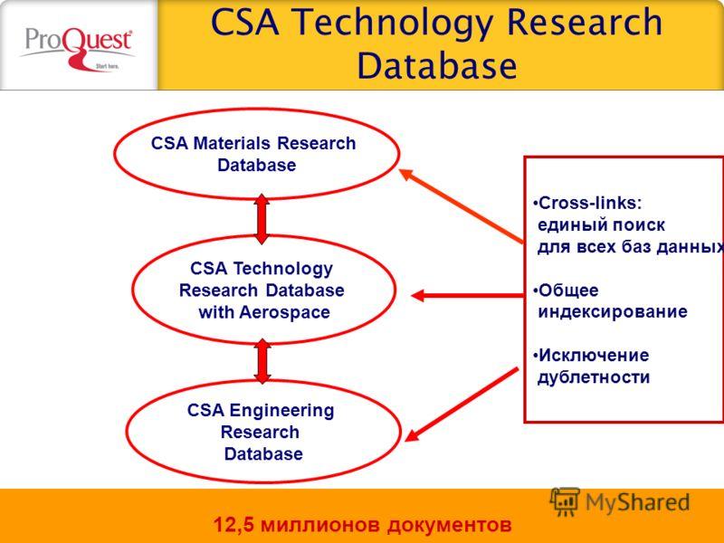 CSA Technology Research Database СSA Materials Research Database CSA Technology Research Database with Aerospaсe CSA Engineering Research Database Cross-links: единый поиск для всех баз данных Общее индексирование Исключение дублетности 12,5 миллионо