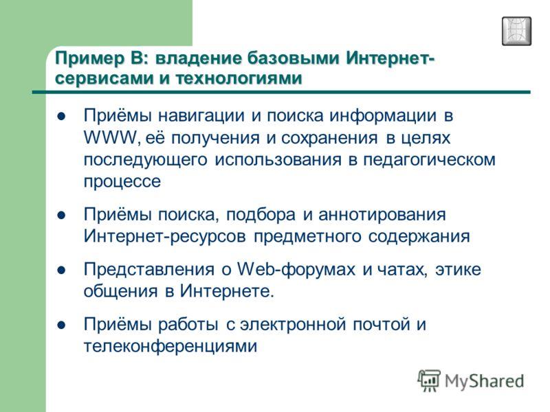 Пример В: владение базовыми Интернет- сервисами и технологиями Приёмы навигации и поиска информации в WWW, её получения и сохранения в целях последующего использования в педагогическом процессе Приёмы поиска, подбора и аннотирования Интернет-ресурсов