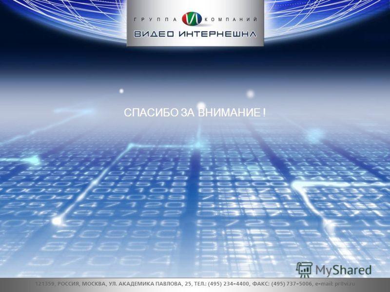 СПАСИБО ЗА ВНИМАНИЕ ! 121359, РОССИЯ, МОСКВА, УЛ. АКАДЕМИКА ПАВЛОВА, 25, ТЕЛ.: (495) 234-4400, ФАКС: (495) 737-5006, e-mail: pr@vi.ru