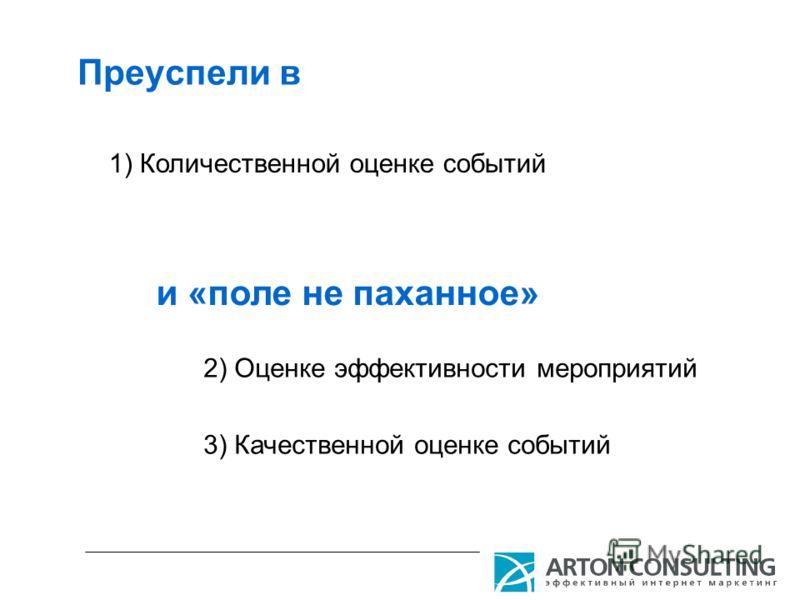 Преуспели в 1) Количественной оценке событий 2) Оценке эффективности мероприятий 3) Качественной оценке событий и «поле не паханное»