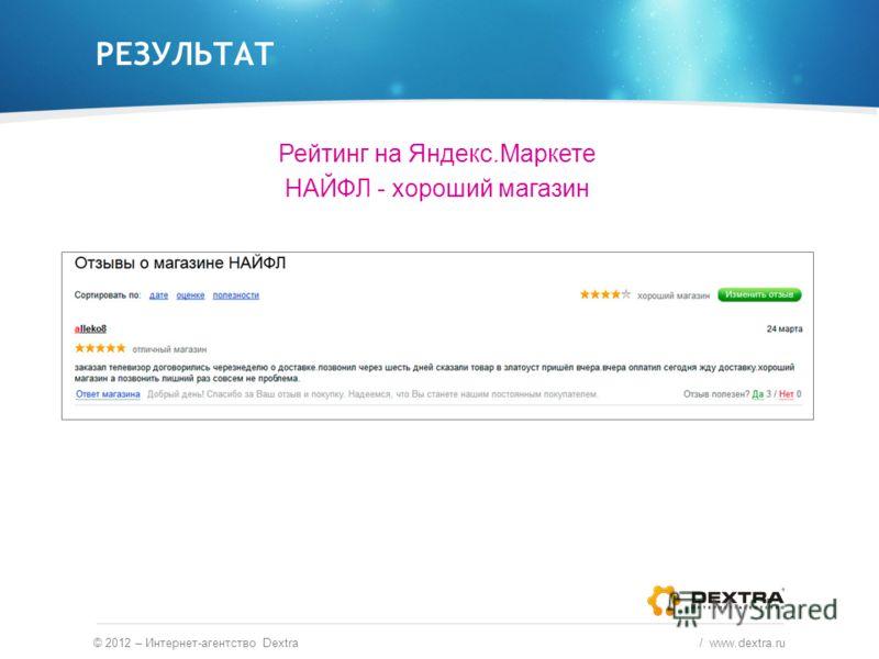 РЕЗУЛЬТАТ © 2012 – Интернет-агентство Dextra / www.dextra.ru Рейтинг на Яндекс.Маркете НАЙФЛ - хороший магазин