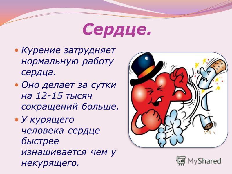Сердце. Курение затрудняет нормальную работу сердца. Оно делает за сутки на 12-15 тысяч сокращений больше. У курящего человека сердце быстрее изнашивается чем у некурящего.