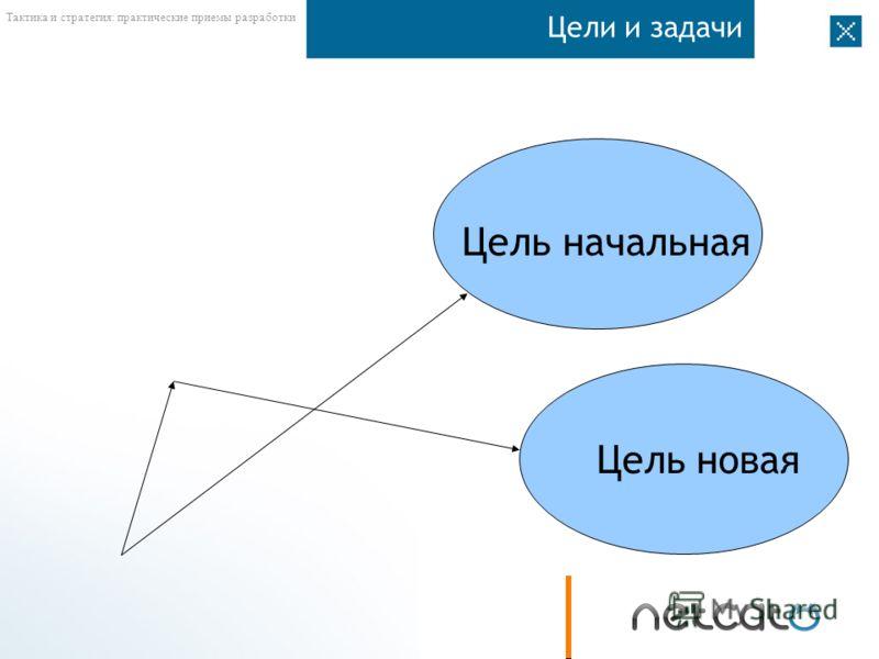 Тактика и стратегия: практические приемы разработки Цели и задачи Цель начальная Цель новая