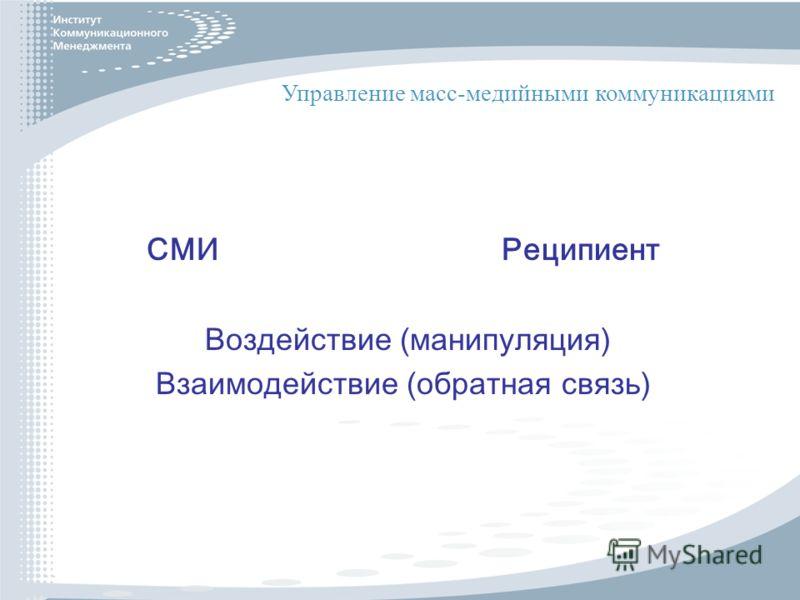 СМИ Реципиент Воздействие (манипуляция) Взаимодействие (обратная связь) Управление масс-медийными коммуникациями