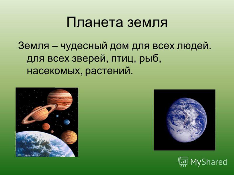 Планета земля Земля – чудесный дом для всех людей. для всех зверей, птиц, рыб, насекомых, растений.