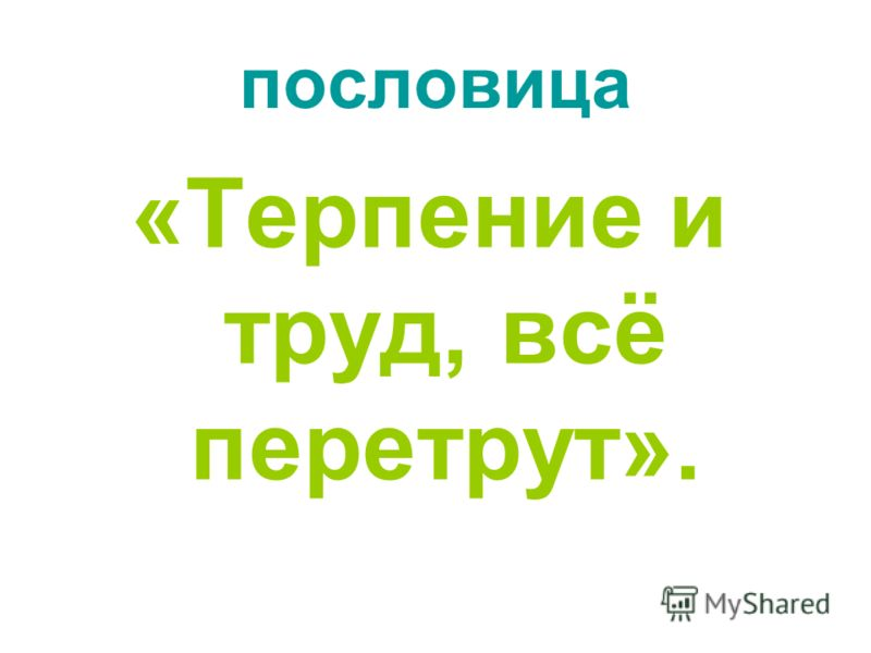 пословица «Терпение и труд, всё перетрут».