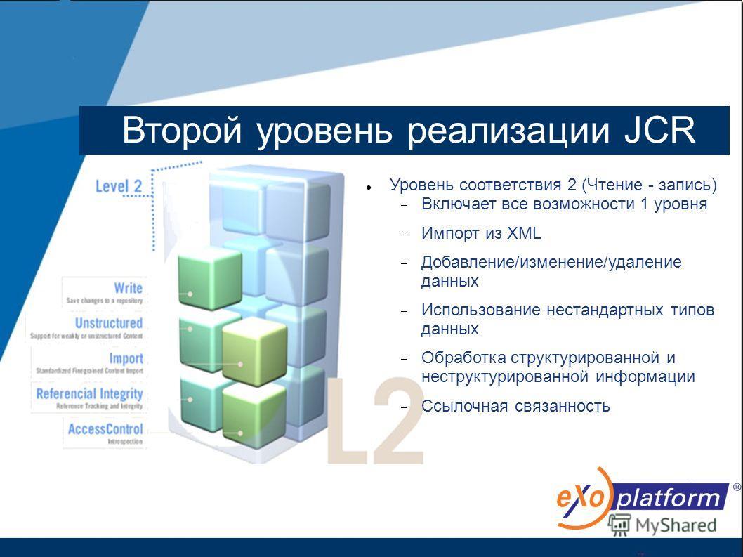 Второй уровень реализации JCR Уровень соответствия 2 (Чтение - запись) Включает все возможности 1 уровня Импорт из XML Добавление/изменение/удаление данных Использование нестандартных типов данных Обработка структурированной и неструктурированной инф