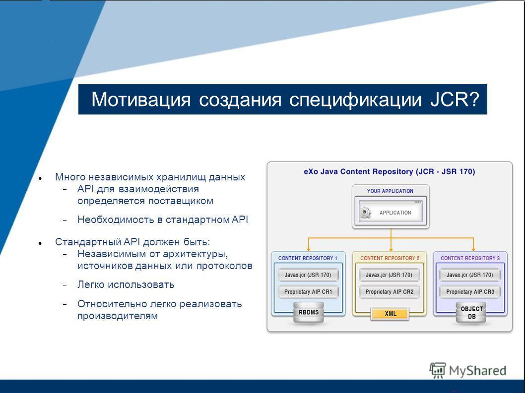 Мотивация создания спецификации JCR? Много независимых хранилищ данных API для взаимодействия определяется поставщиком Необходимость в стандартном API Стандартный API должен быть: Независимым от архитектуры, источников данных или протоколов Легко исп