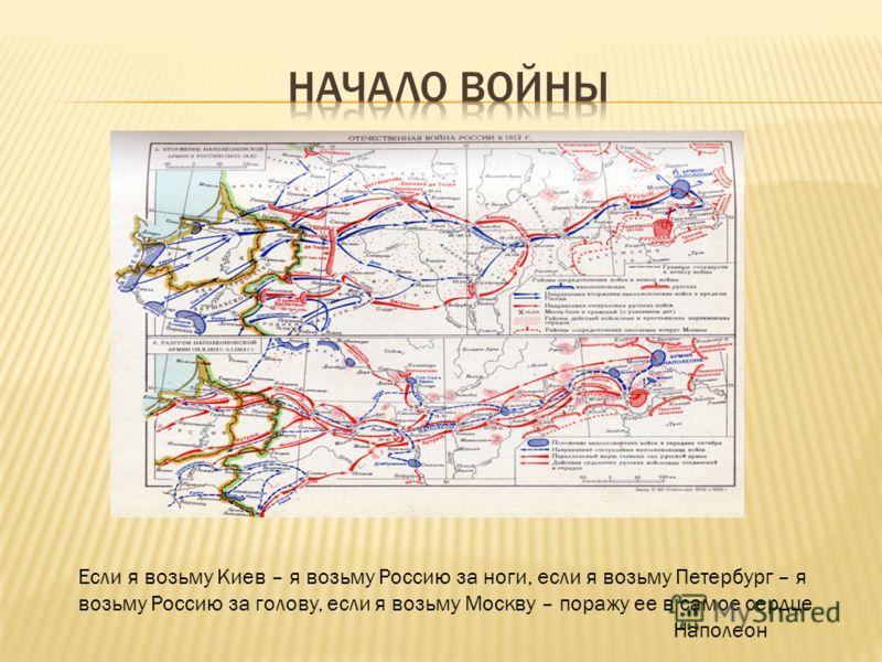 Если я возьму Киев – я возьму Россию за ноги, если я возьму Петербург – я возьму Россию за голову, если я возьму Москву – поражу ее в самое сердце Наполеон