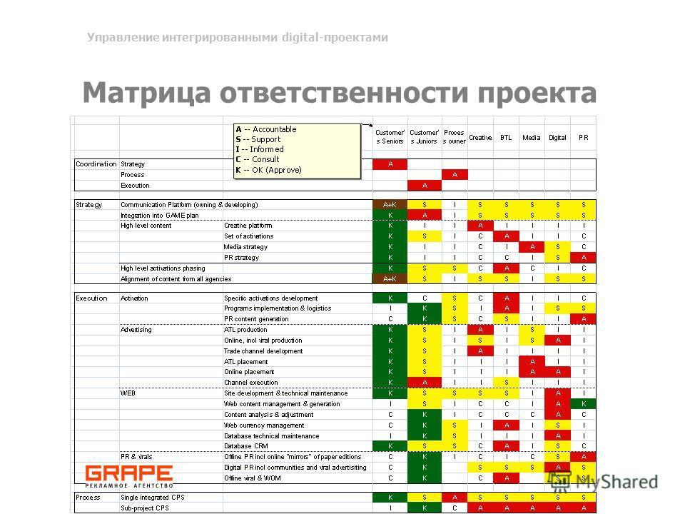 Матрица ответственности проекта Управление интегрированными digital-проектами