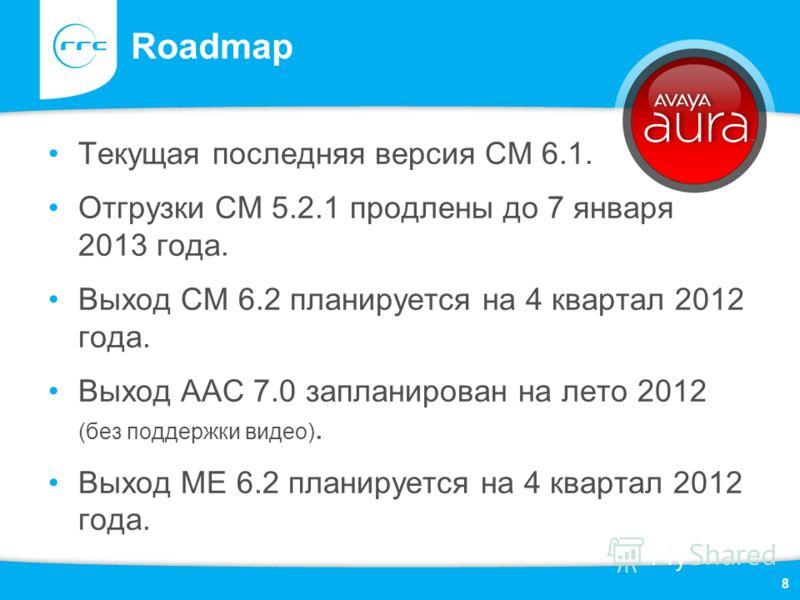Roadmap Текущая последняя версия СМ 6.1. Отгрузки CM 5.2.1 продлены до 7 января 2013 года. Выход СМ 6.2 планируется на 4 квартал 2012 года. Выход ААС 7.0 запланирован на лето 2012 (без поддержки видео). Выход МЕ 6.2 планируется на 4 квартал 2012 года