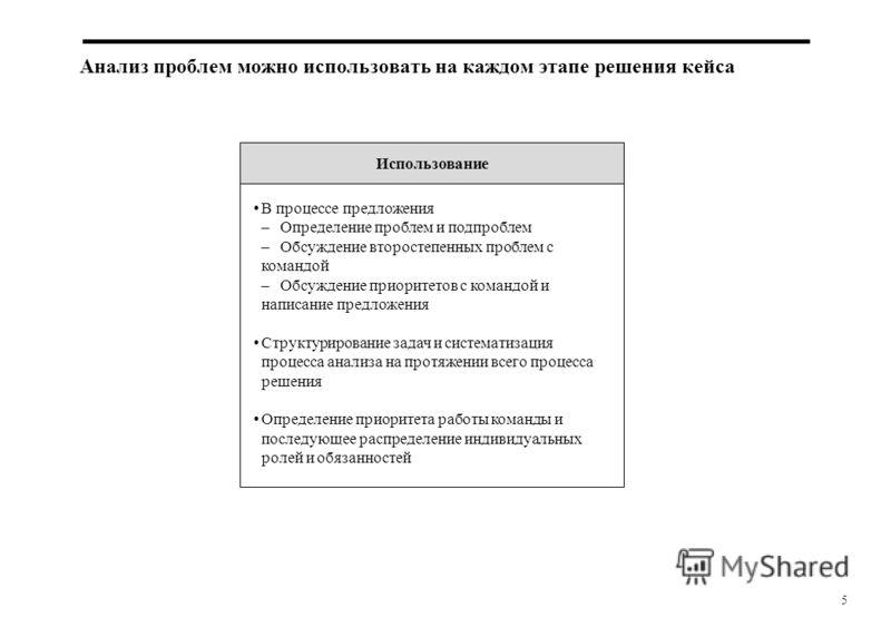 5 Анализ проблем можно использовать на каждом этапе решения кейса В процессе предложения –Определение проблем и подпроблем –Обсуждение второстепенных проблем с командой –Обсуждение приоритетов с командой и написание предложения Структурирование задач
