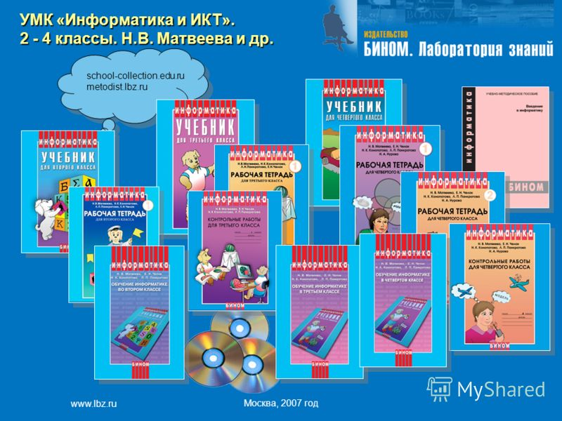 www.lbz.ru Москва, 2007 год school-collection.edu.ru metodist.lbz.ru УМК «Информатика и ИКТ». 2 - 4 классы. Н.В. Матвеева и др.