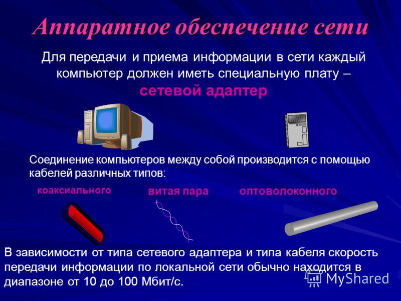 Аппаратное обеспечение сети Для передачи и приема информации в сети каждый компьютер должен иметь специальную плату – сетевой адаптер Соединение компьютеров между собой производится с помощью кабелей различных типов: В зависимости от типа сетевого ад