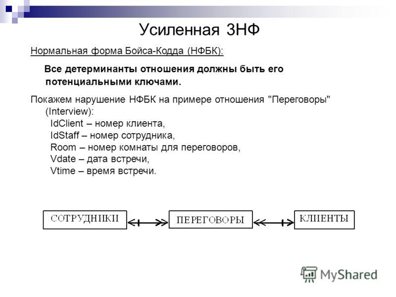 Усиленная 3НФ Нормальная форма Бойса-Кодда (НФБК): Все детерминанты отношения должны быть его потенциальными ключами. Покажем нарушение НФБК на примере отношения