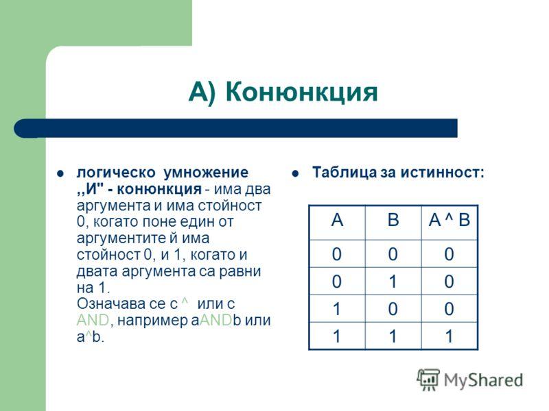 А) Конюнкция логическо умножение,,И