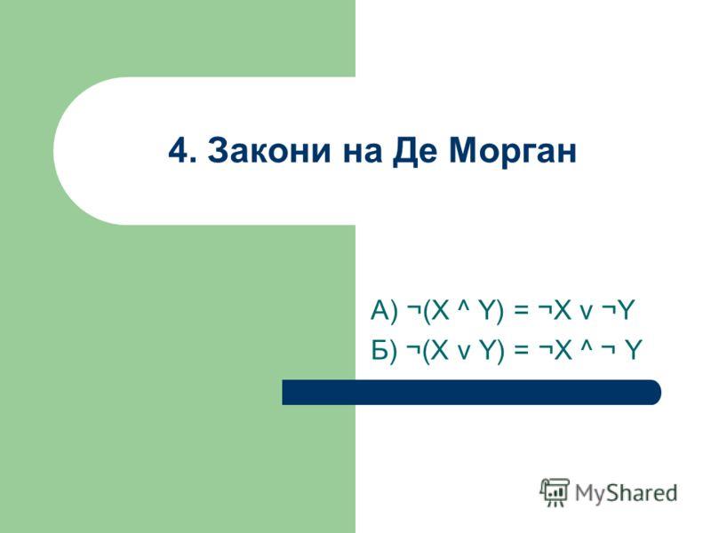 4. Закони на Де Морган А) ¬(X ^ Y) = ¬X v ¬Y Б) ¬(X v Y) = ¬X ^ ¬ Y