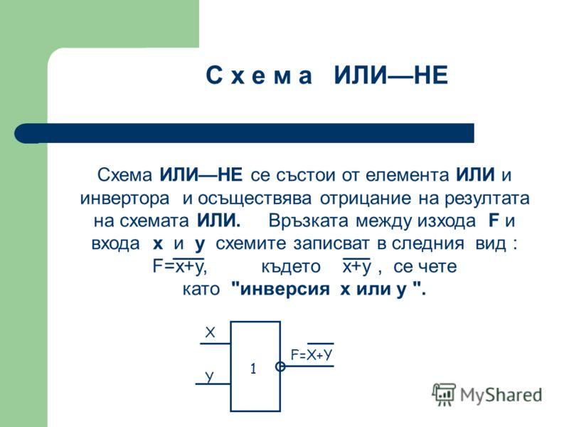 Схема ИЛИНЕ се състои от елемента ИЛИ и инвертора и осъществява отрицание на резултата на схемата ИЛИ. Връзката между изхода F и входа x и y схемите записват в следния вид : F=x+y, където x+y, се чете като