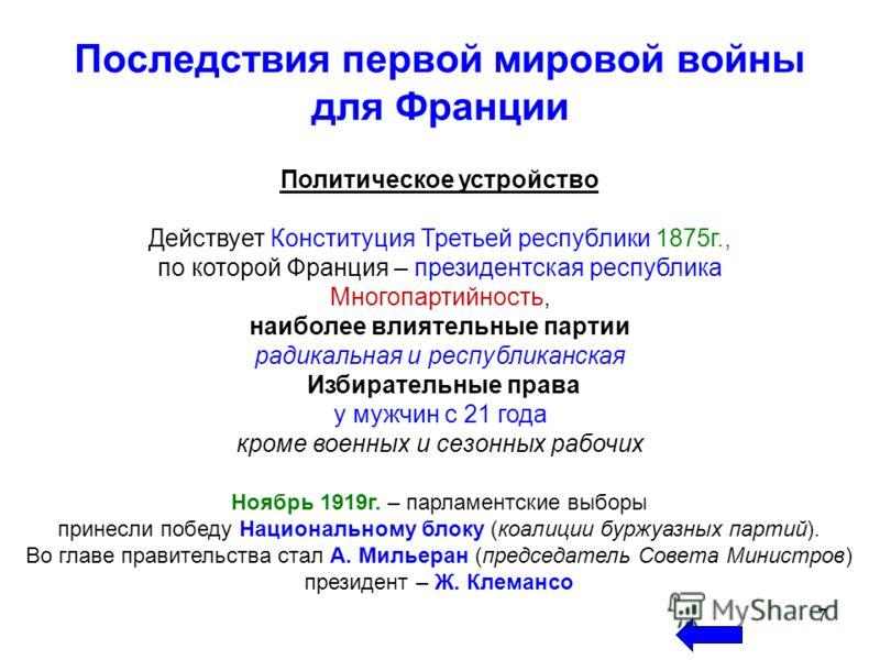 7 Последствия первой мировой войны для Франции Политическое устройство Действует Конституция Третьей республики 1875г., по которой Франция – президентская республика Многопартийность, наиболее влиятельные партии радикальная и республиканская Избирате