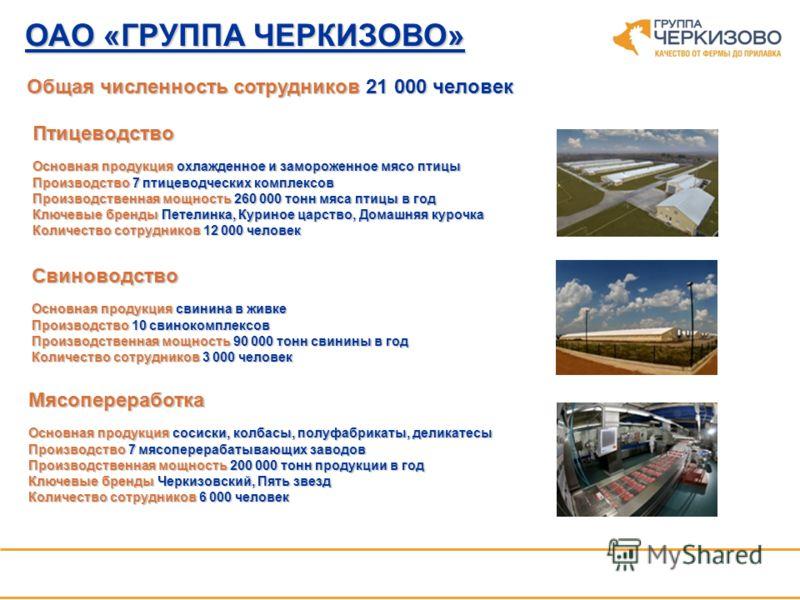 ОАО «ГРУППА ЧЕРКИЗОВО» Крупнейшая в России вертикально интегрированная агропромышленная компания с полным производственно-сбытовым циклом. Деятельность компаниивключает 3 основных сегмента Деятельность компании включает 3 основных сегмента Птицеводст