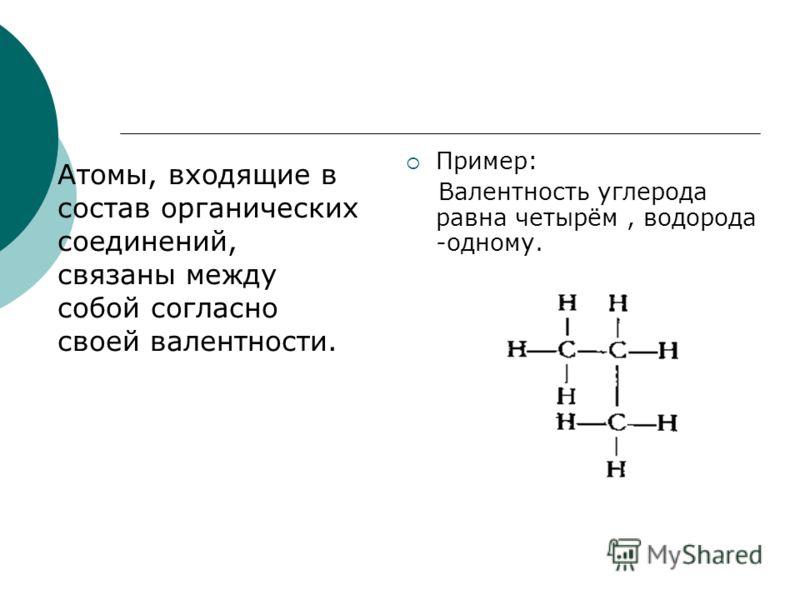Атомы, входящие в состав органических соединений, связаны между собой согласно своей валентности. Пример: Валентность углерода равна четырём, водорода -одному.