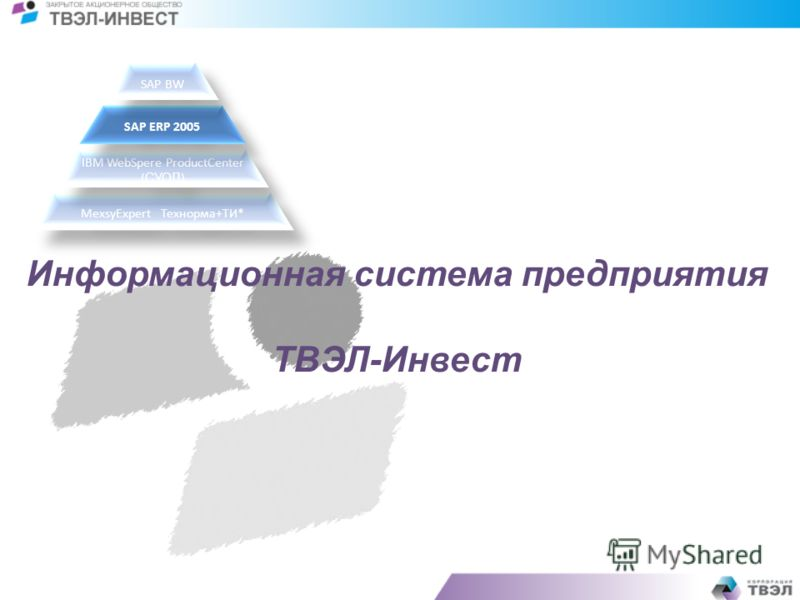 Информационная система предприятия ТВЭЛ-Инвест MexsyExpertТехнорма+ТИ* IBM WebSpere ProductCenter ( СУОД ) SAP ERP 2005 SAP BW
