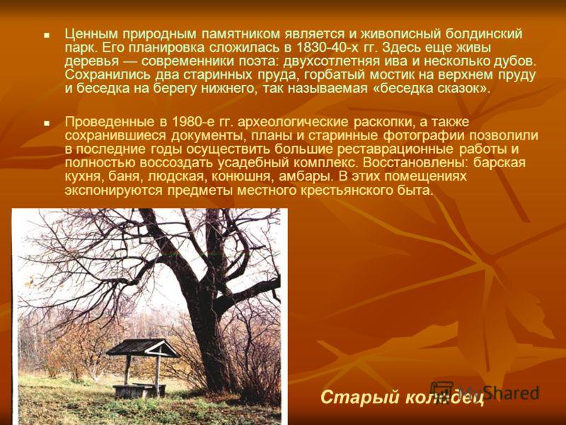 Ценным природным памятником является и живописный болдинский парк. Его планировка сложилась в 1830-40-х гг. Здесь еще живы деревья современники поэта: двухсотлетняя ива и несколько дубов. Сохранились два старинных пруда, горбатый мостик на верхнем пр