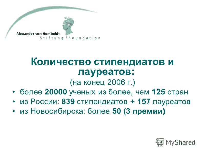Количество стипендиатов и лауреатов: (на конец 2006 г.) более 20000 ученых из более, чем 125 стран из России: 839 стипендиатов + 157 лауреатов из Новосибирска: более 50 (3 премии)