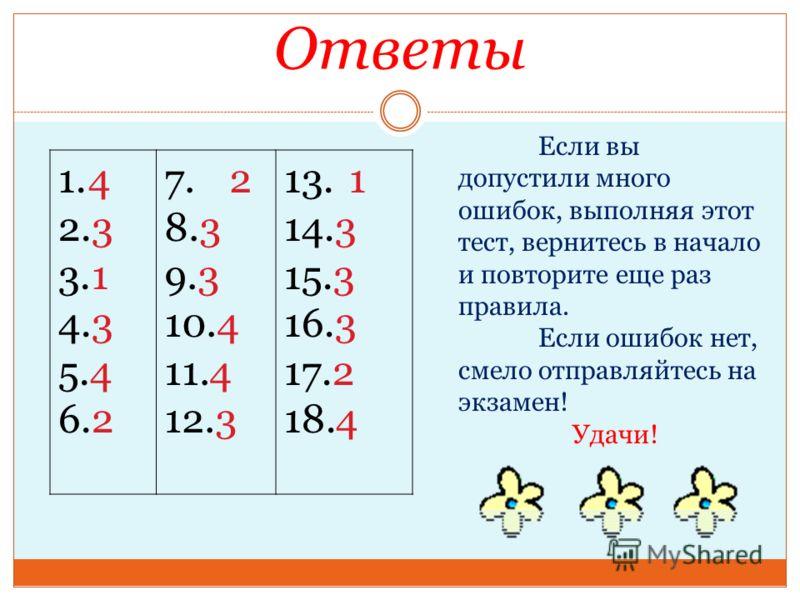 Ответы 1.4 2.3 3.1 4.3 5.4 6.2 7.2 8.3 9.3 10.4 11.4 12.3 13.1 14.3 15.3 16.3 17.2 18.4 Если вы допустили много ошибок, выполняя этот тест, вернитесь в начало и повторите еще раз правила. Если ошибок нет, смело отправляйтесь на экзамен! Удачи!