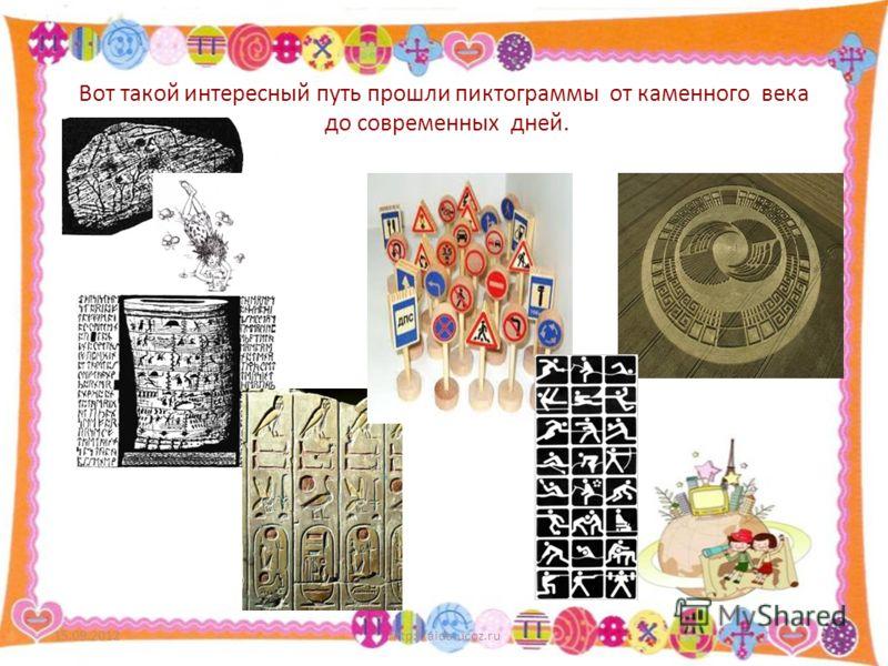 Вот такой интересный путь прошли пиктограммы от каменного века до современных дней. 15.09.2012http://aida.ucoz.ru19
