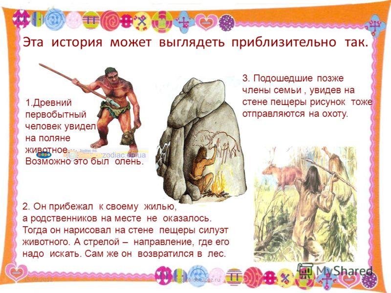 Эта история может выглядеть приблизительно так. 15.09.2012http://aida.ucoz.ru6 1.Древний первобытный человек увидел на поляне животное. Возможно это был олень. 2. Он прибежал к своему жилью, а родственников на месте не оказалось. Тогда он нарисовал н