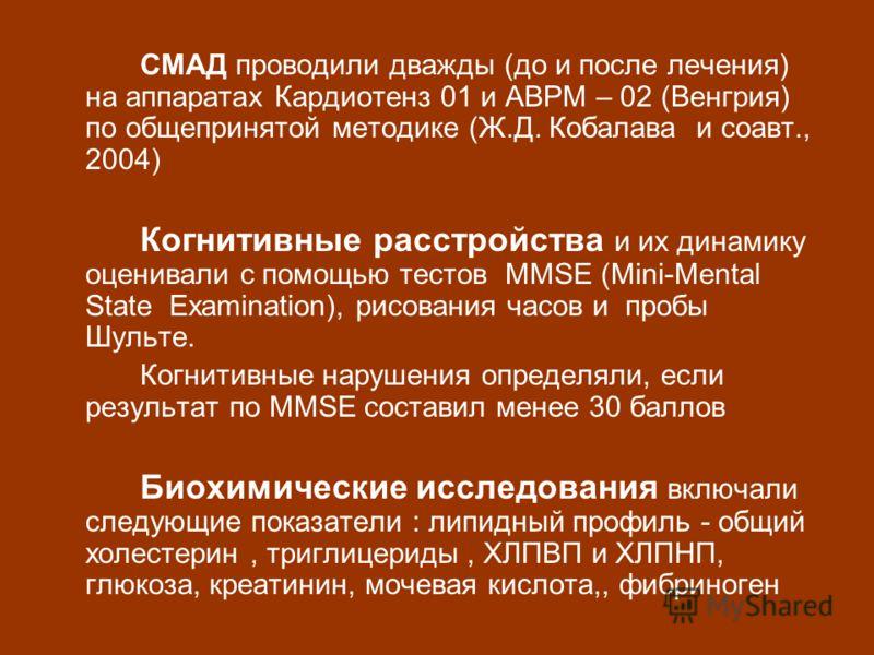 СМАД проводили дважды (до и после лечения) на аппаратах Кардиотенз 01 и ABPM – 02 (Венгрия) по общепринятой методике (Ж.Д. Кобалава и соавт., 2004) Когнитивные расстройства и их динамику оценивали с помощью тестов ММSE (Mini-Mental State Examination)