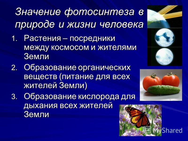 Значение фотосинтеза в природе и жизни человека 1. Растения – посредники между космосом и жителями Земли 2. Образование органических веществ (питание для всех жителей Земли) 3. Образование кислорода для дыхания всех жителей Земли