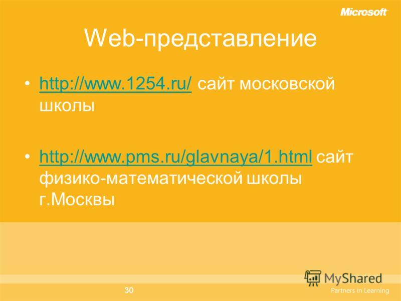 30 Web-представление http://www.1254.ru/ сайт московской школыhttp://www.1254.ru/ http://www.pms.ru/glavnaya/1.html сайт физико-математической школы г.Москвыhttp://www.pms.ru/glavnaya/1.html