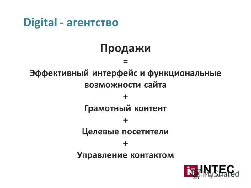 Digital - агентство Продажи = Эффективный интерфейс и функциональные возможности сайта + Грамотный контент + Целевые посетители + Управление контактом