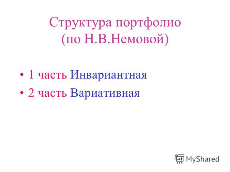 Структура портфолио (по Н.В.Немовой) 1 часть Инвариантная 2 часть Вариативная