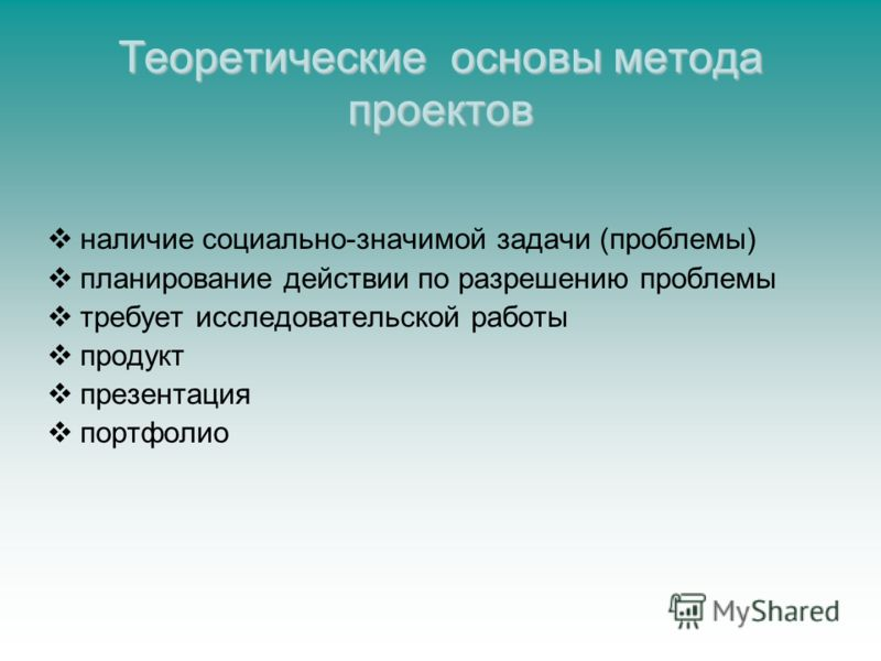 Теоретические основы метода проектов наличие социально-значимой задачи (проблемы) планирование действии по разрешению проблемы требует исследовательской работы продукт презентация портфолио