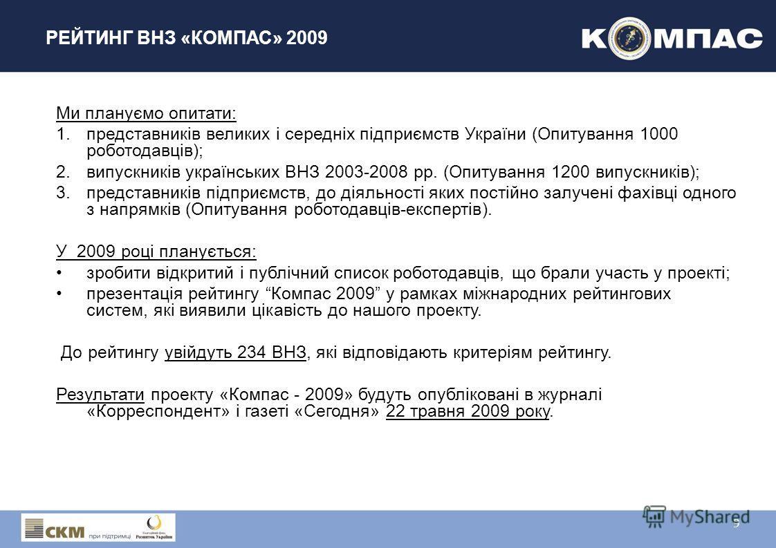 РЕЙТИНГ ВНЗ «КОМПАС» 2009 Ми плануємо опитати: 1.представників великих і середніх підприємств України (Опитування 1000 роботодавців); 2.випускників українських ВНЗ 2003-2008 рр. (Опитування 1200 випускників); 3.представників підприємств, до діяльност