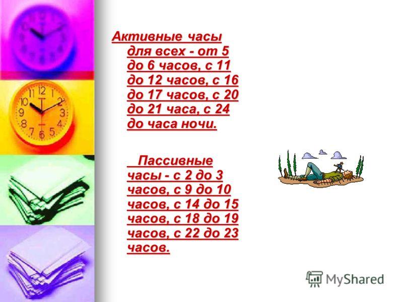 Активные часы для всех - от 5 до 6 часов, с 11 до 12 часов, с 16 до 17 часов, с 20 до 21 часа, с 24 до часа ночи. Пассивные часы - с 2 до 3 часов, с 9 до 10 часов, с 14 до 15 часов, с 18 до 19 часов, с 22 до 23 часов. Пассивные часы - с 2 до 3 часов,