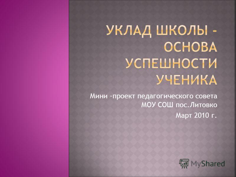 Мини –проект педагогического совета МОУ СОШ пос.Литовко Март 2010 г.