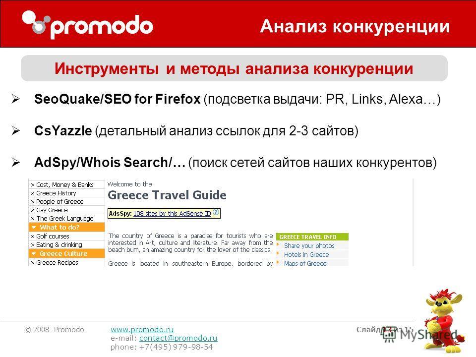 © 2008 Promodo www.promodo.ru e-mail: contact@promodo.rucontact@promodo.ru phone: +7(495) 979-98-54 Слайд 13 из 15 Анализ конкуренции SeoQuake/SEO for Firefox (подсветка выдачи: PR, Links, Alexa…) CsYazzle (детальный анализ ссылок для 2-3 сайтов) AdS