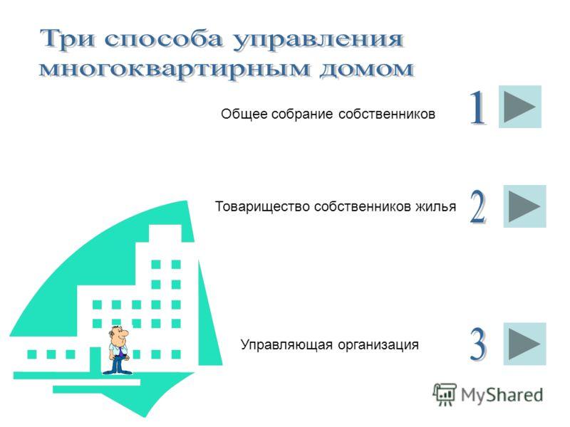 Общее собрание собственников Товарищество собственников жилья Управляющая организация