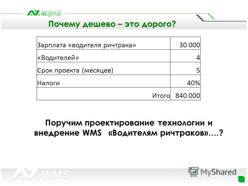 Зарплата «водителя ричтрака»30 000 «Водителей»4 Срок проекта (месяцев)5 Налоги40% Итого840 000 Поручим проектирование технологии и внедрение WMS «Водителям ричтраков»….?